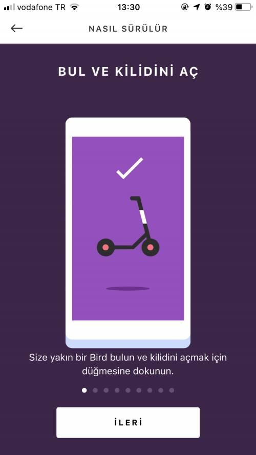 Scoter kiralama Android iOS uygulaması